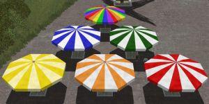 Biergarten-Schirme, gestreift