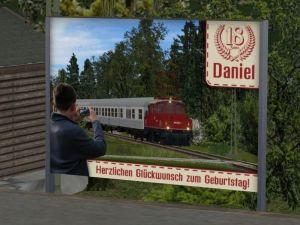 Plakatwand zu Daniels 18. Geburtstag